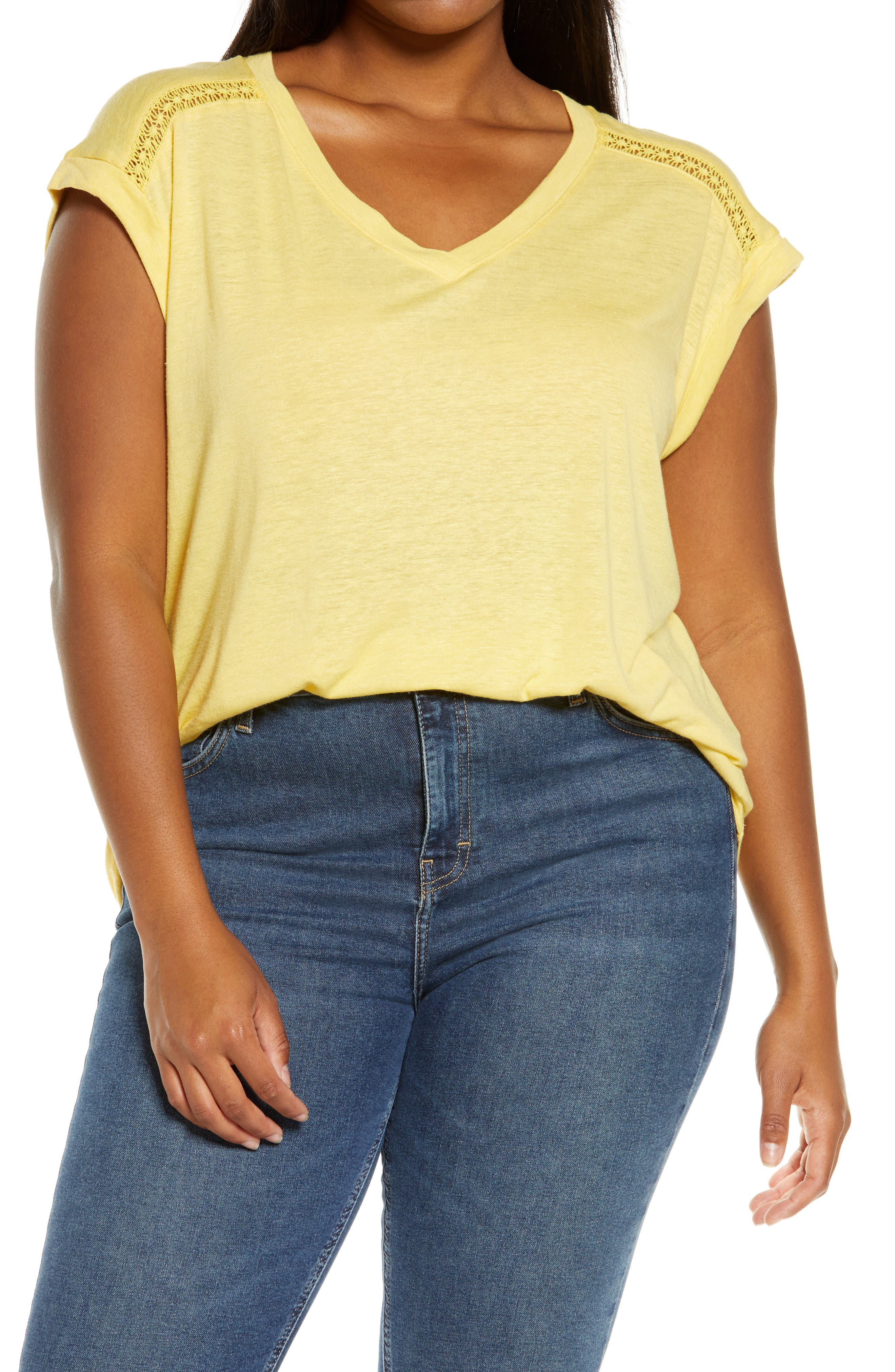 Image of Democracy V-Neck Roll Cuff High/Low T-Shirt