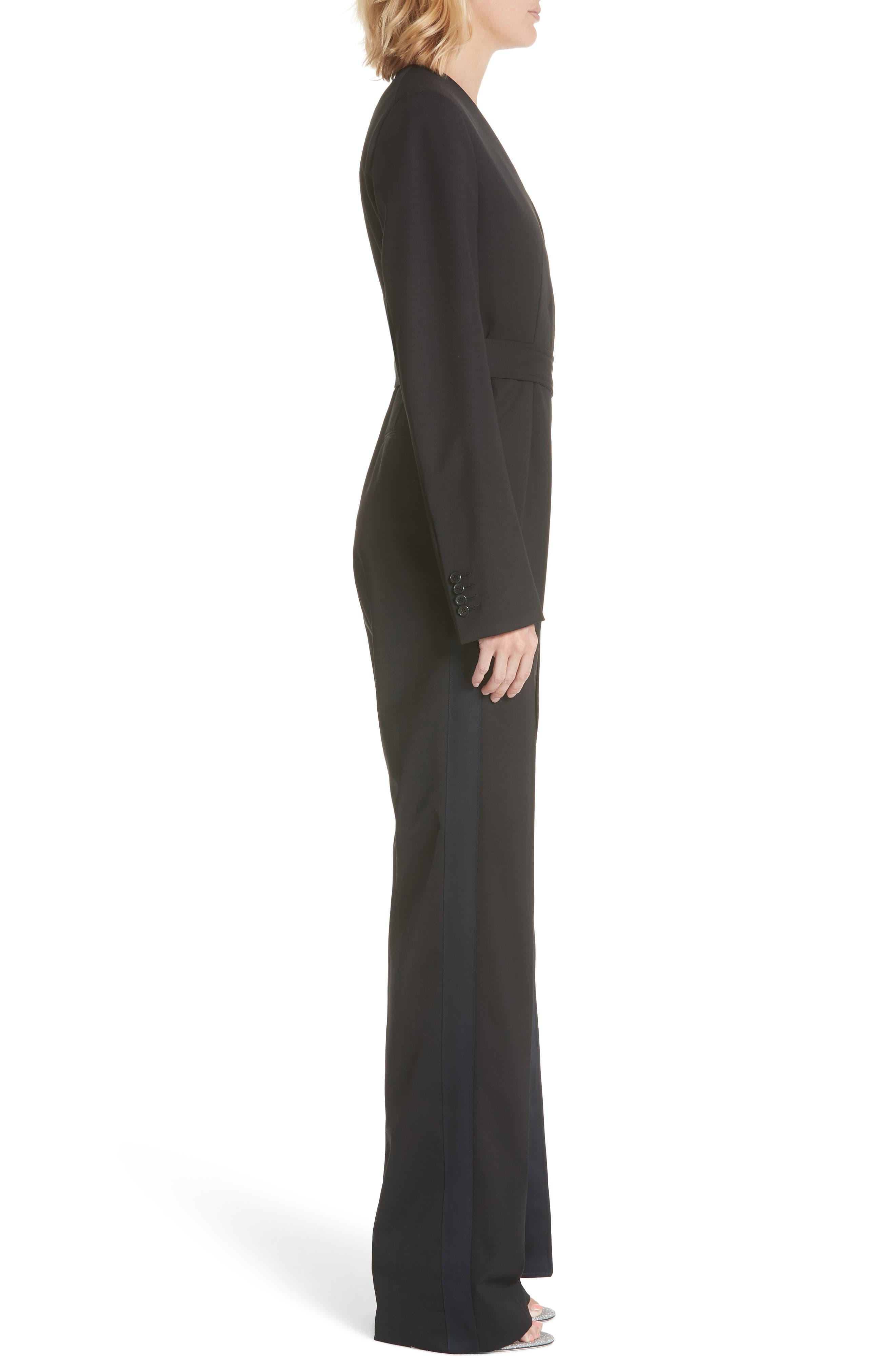 ,                             Side Stripe Wool Blend Jumpsuit,                             Alternate thumbnail 4, color,                             BLACK DARK NAVY