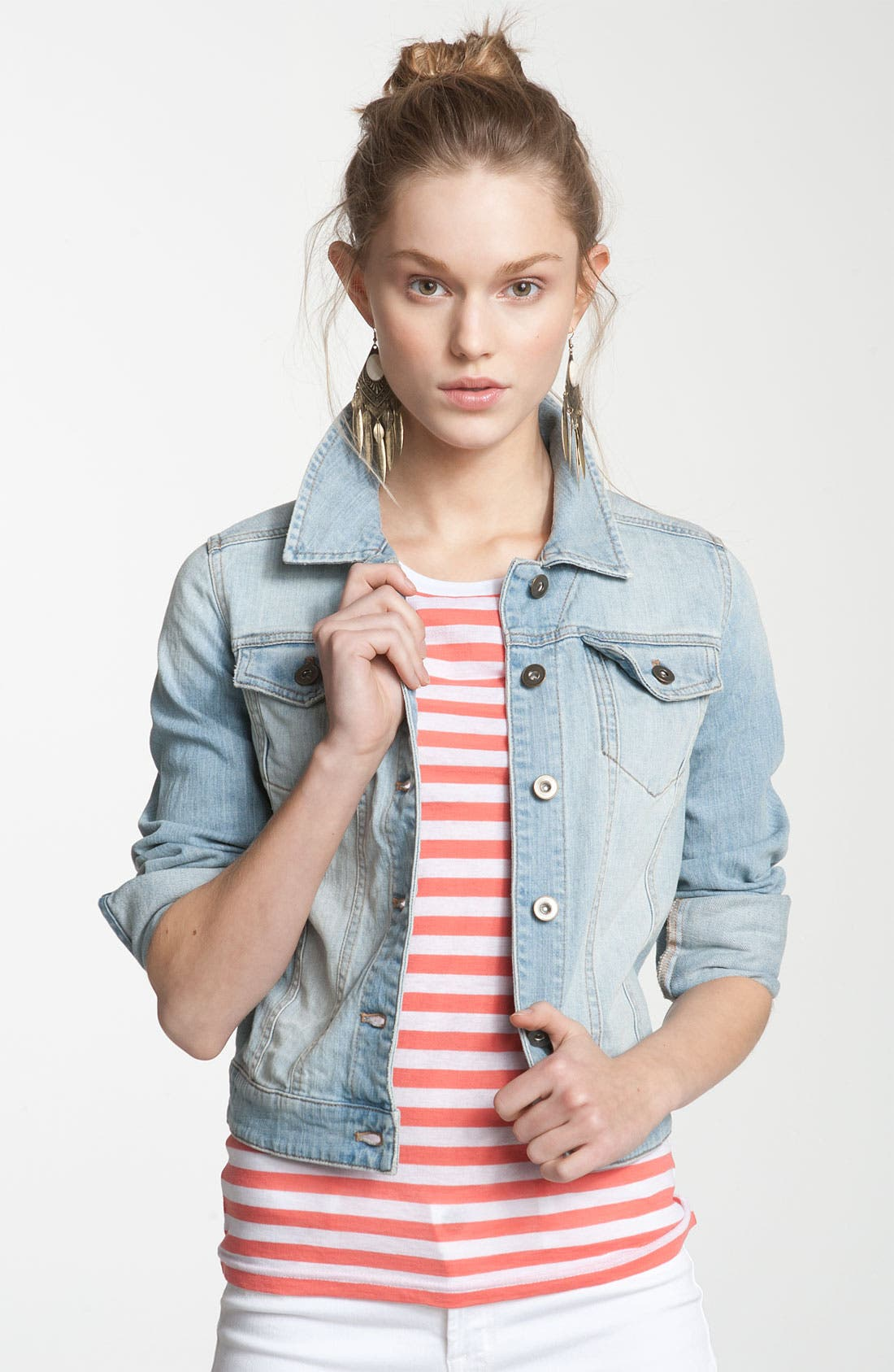 ,                             Basic Denim Jacket,                             Main thumbnail 5, color,                             401