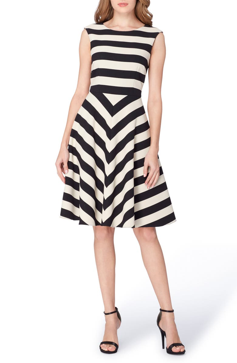 TAHARI Stripe Scuba Fit & Flare Dress, Main, color, 001