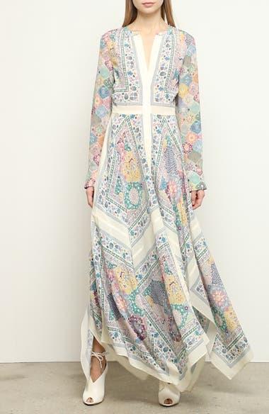 Scarf Print Long Sleeve Silk Maxi Dress, video thumbnail
