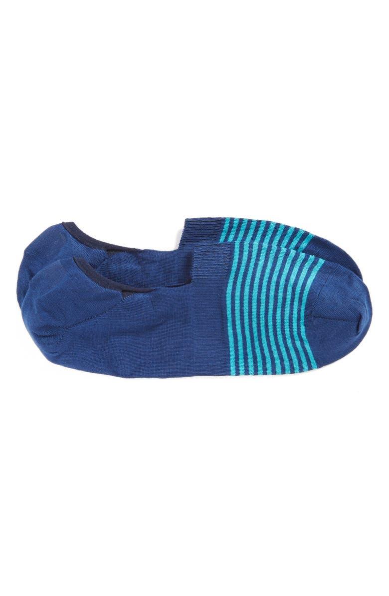 PANTHERELLA Stripe No-Show Socks, Main, color, OCEAN/ LIGHT BLUE STRIPE