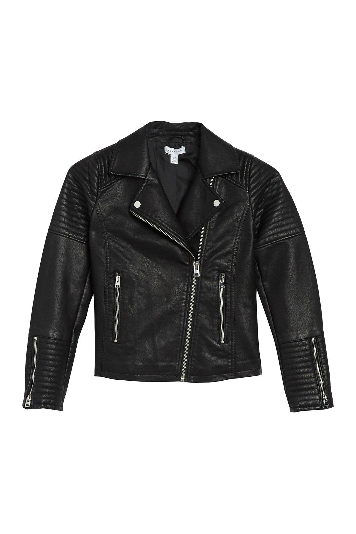 Image of TOPSHOP Rosa Faux Leather Biker Jacket