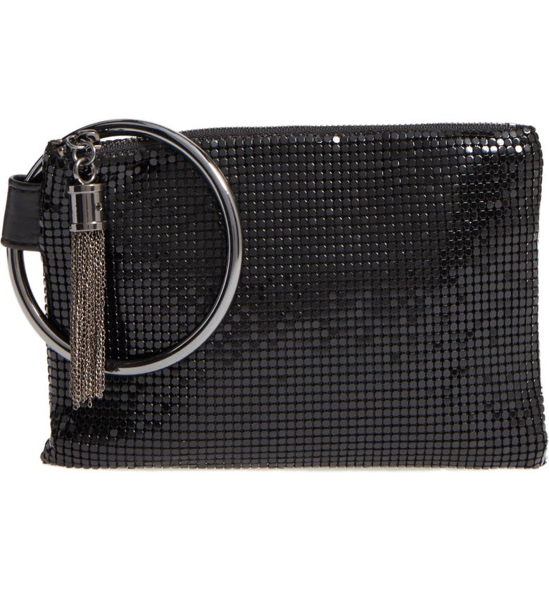 WHITING & DAVIS Bangle Wristlet, Main, color, BLACK