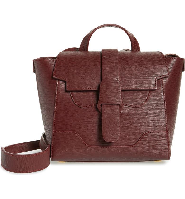 SENREVE Mini Maestra Leather Satchel, Main, color, BORDEAUX