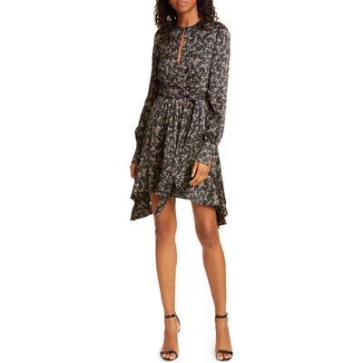 Jonathan Simkhai Keyhole Long Sleeve Stretch Silk Minidress, Black