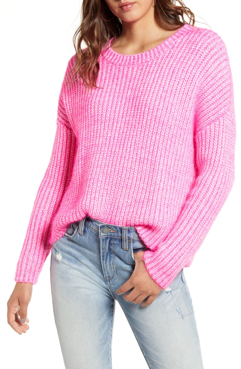 GOOD LUCK GEM Two Tone Sweater, Main, color, NEON PINK
