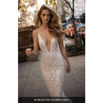 Berta Spaghetti Strap Beaded Mesh Mermaid Gown