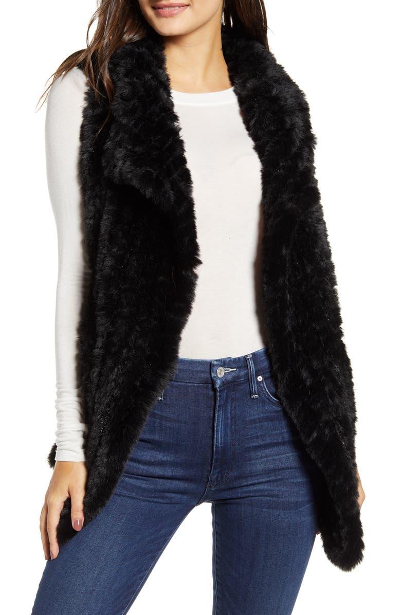 LOVE TOKEN Drape Front Faux Fur Vest, Main, color, BLACK