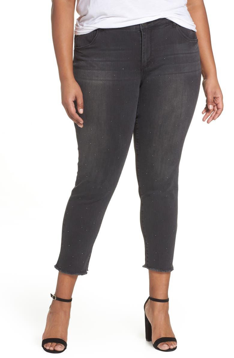 WIT & WISDOM Ab-Solution Embellished Ankle Jeans, Main, color, 001