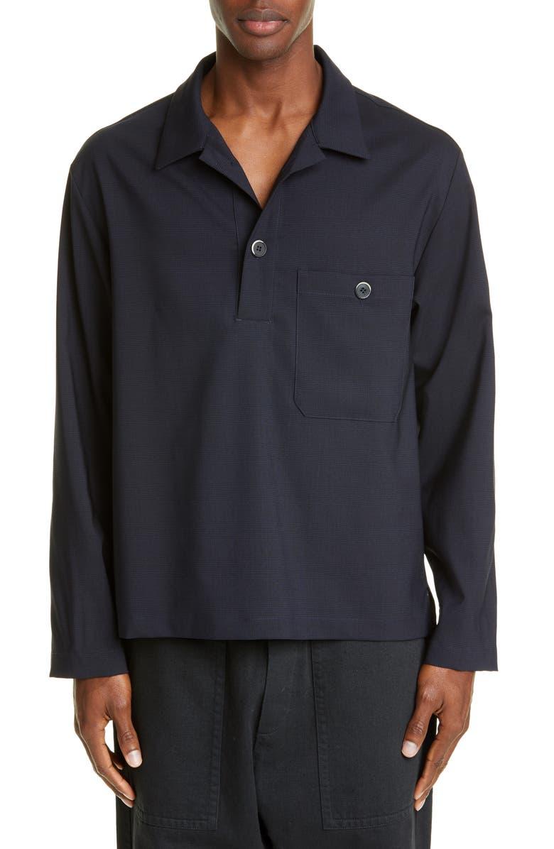 BARENA VENEZIA Long Sleeve Wool Blend Polo, Main, color, NAVY