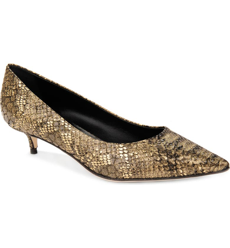 SOMETHING BLEU Belles Snake Embossed Pointed Toe Pump, Main, color, SNAKE PRINT/OLD GOLD