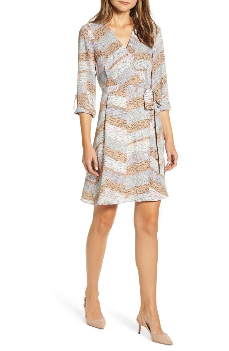 BOBEAU Print Long Sleeve Roll-Tab Faux Wrap Dress, Main, color, SNAKE PRINT