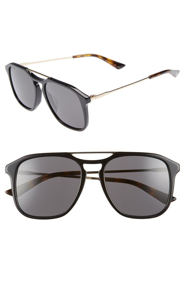 GUCCI Light Combi 55mm Aviator Sunglasses, Main, color, GOLD/ DARK HAVANA
