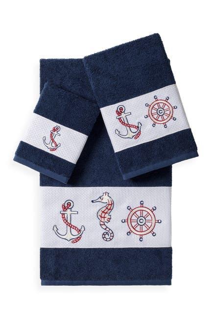 Image of LINUM TOWELS Easton 3-Piece Embellished Towel Set - Midnight Blue