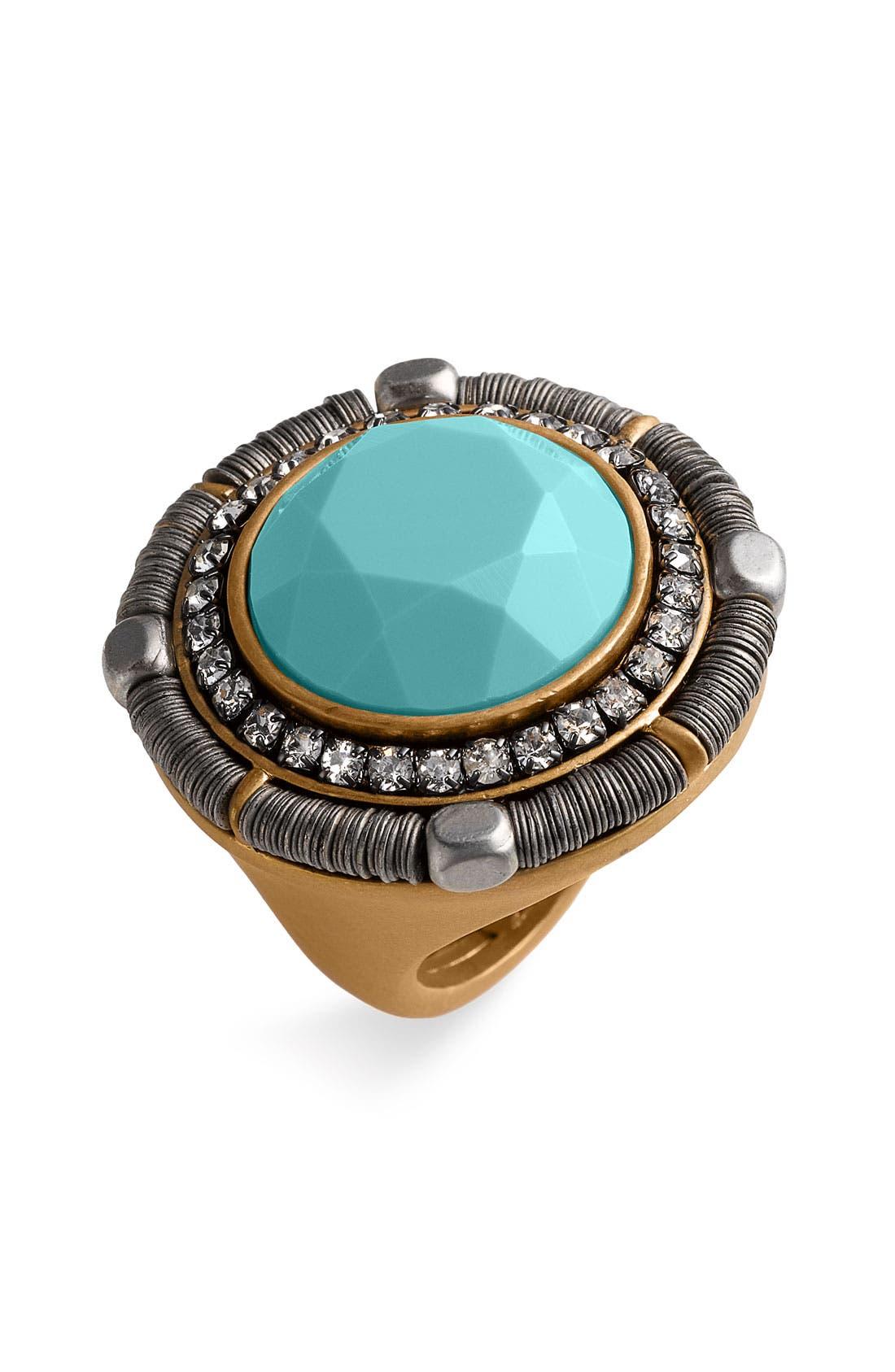 'Wanderlust' Mixed Media Adjustable Ring, Main, color, 440