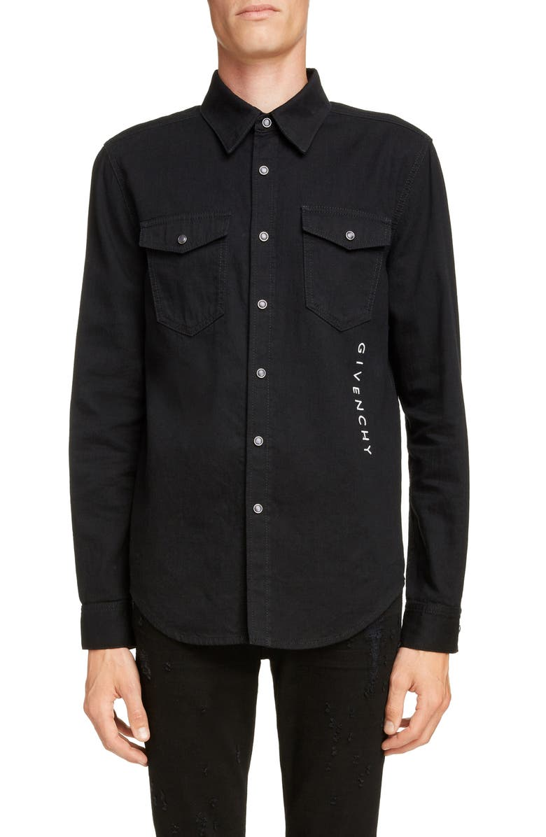 GIVENCHY Denim Shirt, Main, color, BLACK