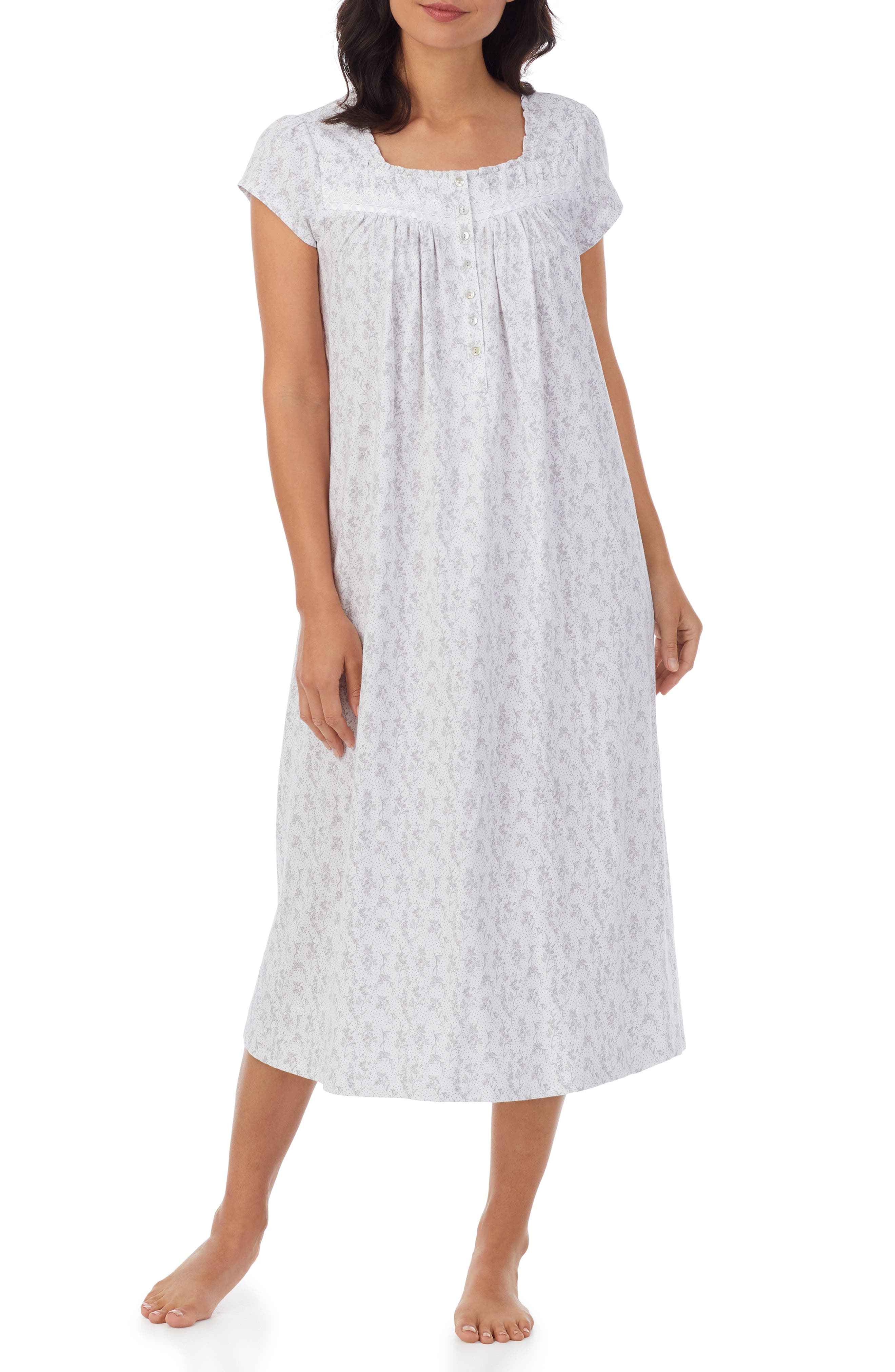 Lace Trim Cotton Jersey Nightgown