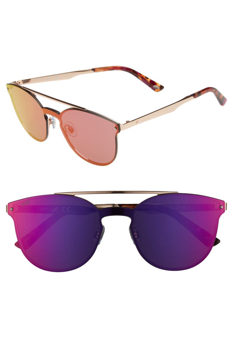 WEB 55mm Cat Eye Metal Shield Sunglasses, Main, color, BRONZE GRADIENT