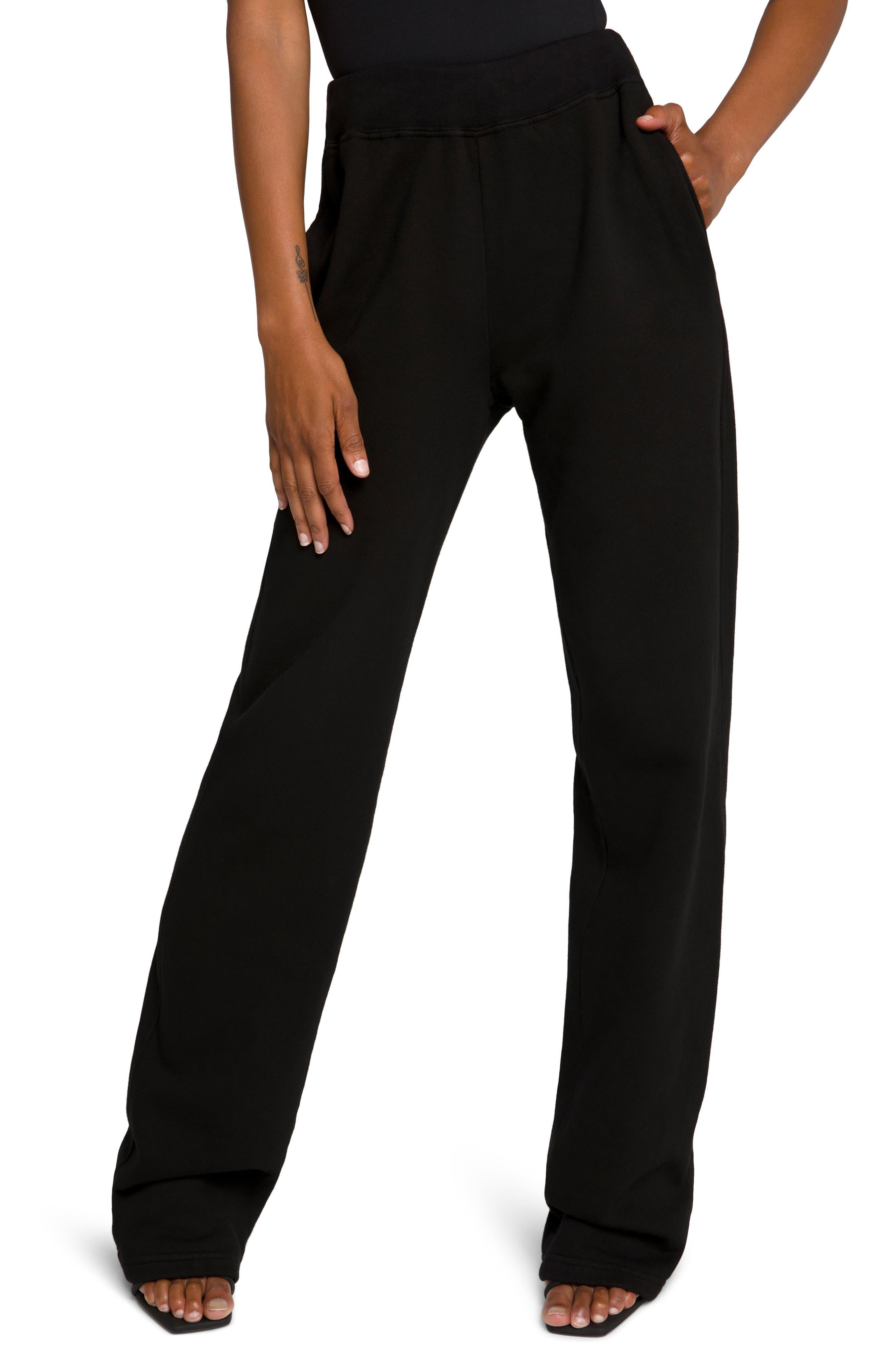 Plus Women's Good American Terry Fleece Wide Leg Sweatpants
