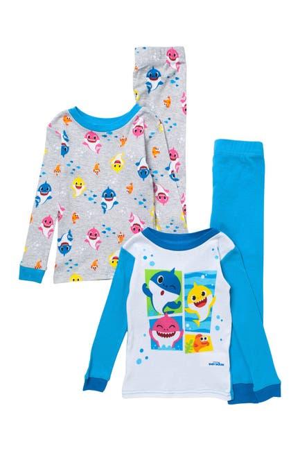 Image of AME Baby Shark Print Cotton Pajama Set - Set of 2