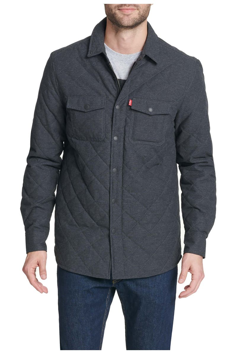 LEVIS Diamond Quilted Shirt Jacket, Main, color, CHARCOAL