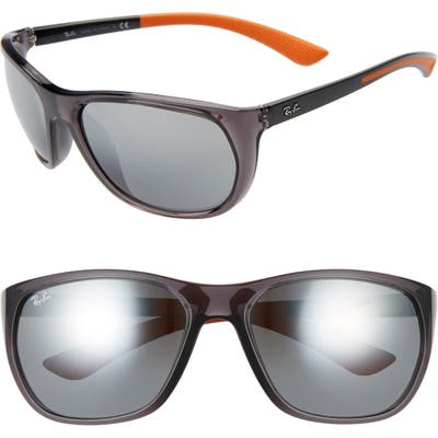 Ray-Ban 61mm Wrap Sunglasses - Trasparent Grey