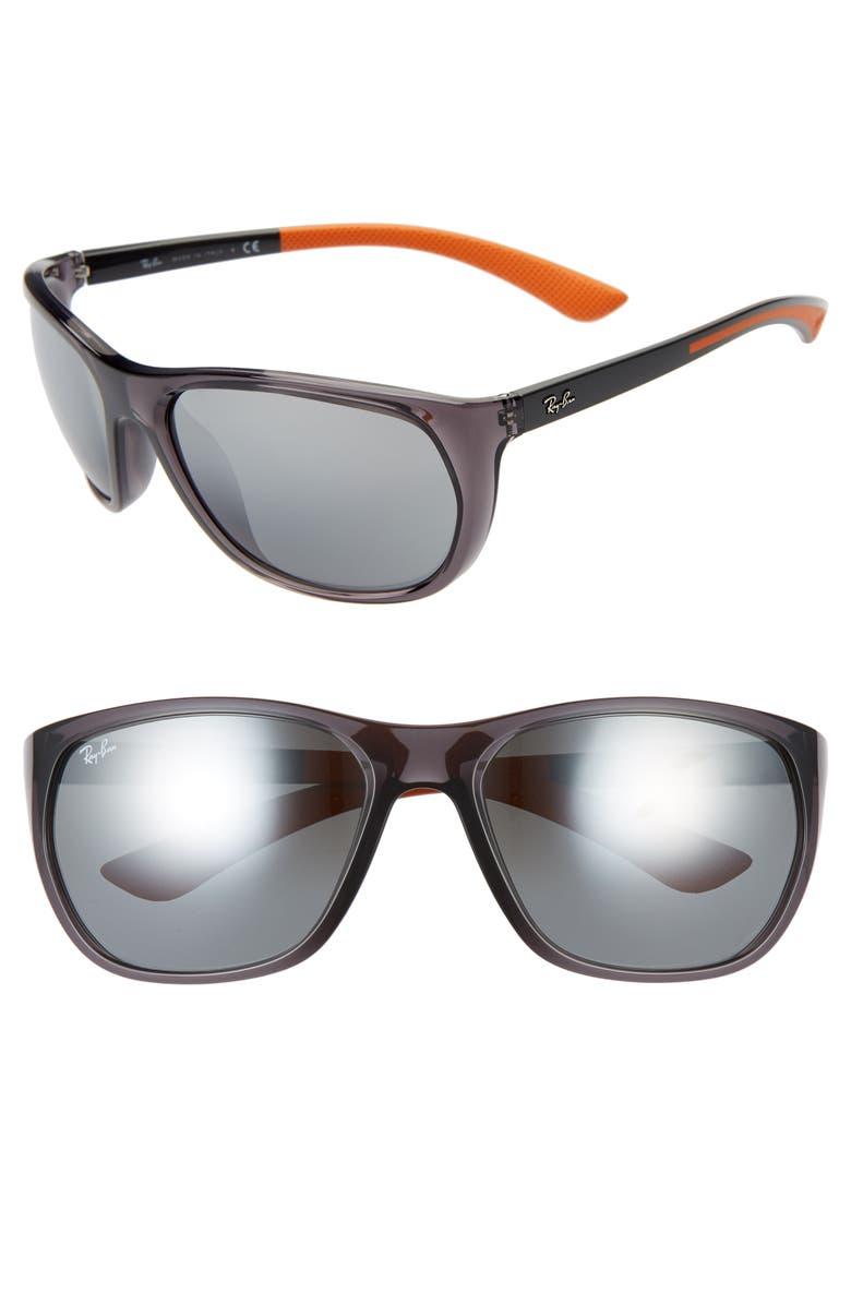 RAY-BAN 61mm Wrap Sunglasses, Main, color, TRASPARENT GREY