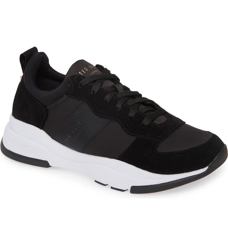 TED BAKER LONDON Waverdi Sneaker, Main, color, BLACK SATIN/ SUEDE