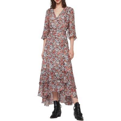 Allsaints Delana Wilde Floral Wrap Dress, Blue