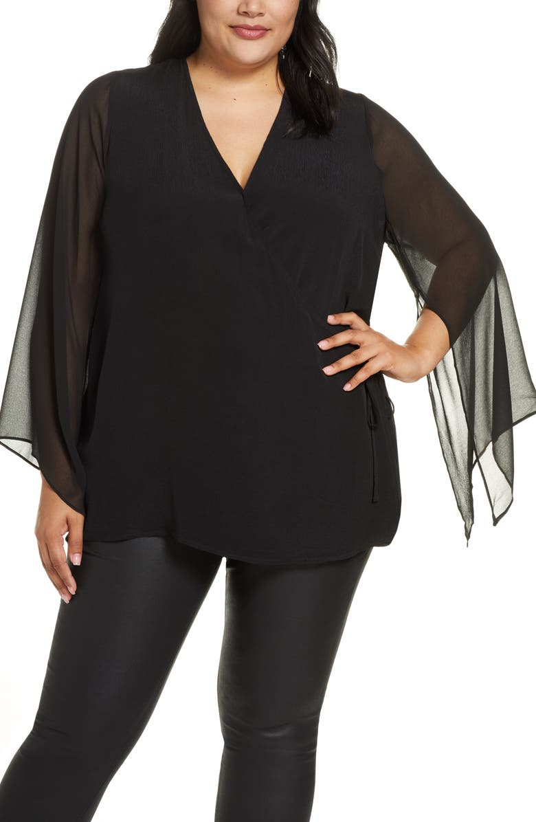 ESTELLE Claremont Sheer Bawing Sleeve Blouse, Main, color, BLACK
