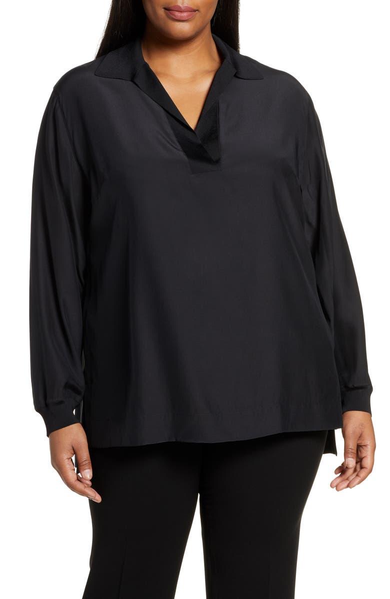 LAFAYETTE 148 NEW YORK Boyd Silk Blouse, Main, color, BLACK