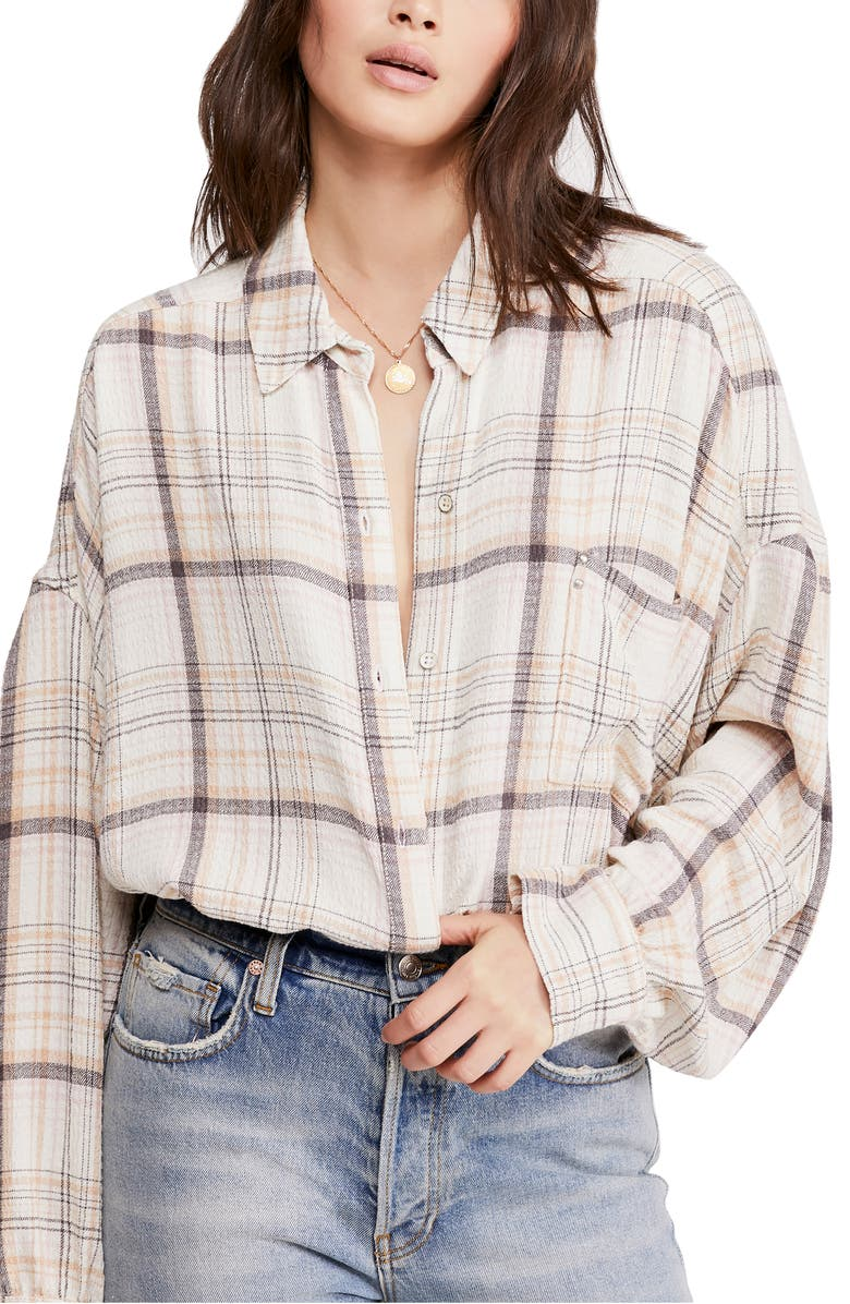 FREE PEOPLE Hidden Valley Woven Plaid Shirt, Main, color, IVORY