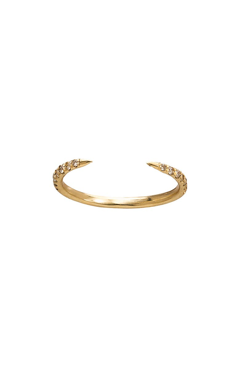 WWAKE Micropavé Open Slice Stacking Ring, Main, color, YELLOW GOLD/ DIAMOND
