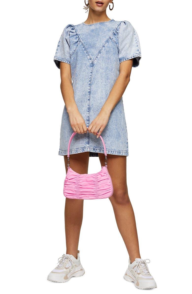 TOPSHOP Acid Wash Denim Minidress, Main, color, 420