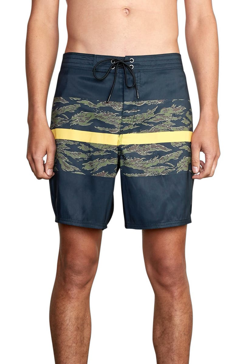 RVCA Westport Stripe Board Shorts, Main, color, BLACK