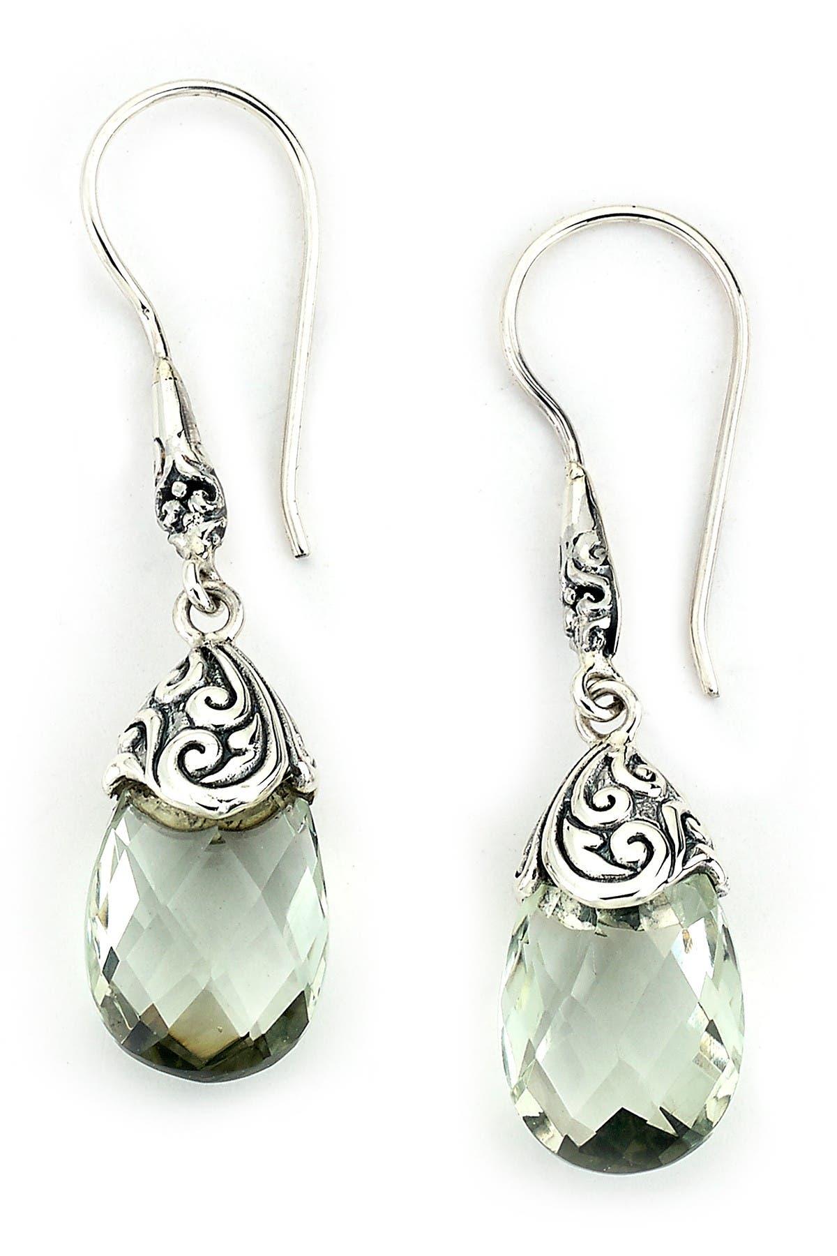 Image of Samuel B Jewelry Sterling Silver Green Amethyst Briolette Drop Earrings