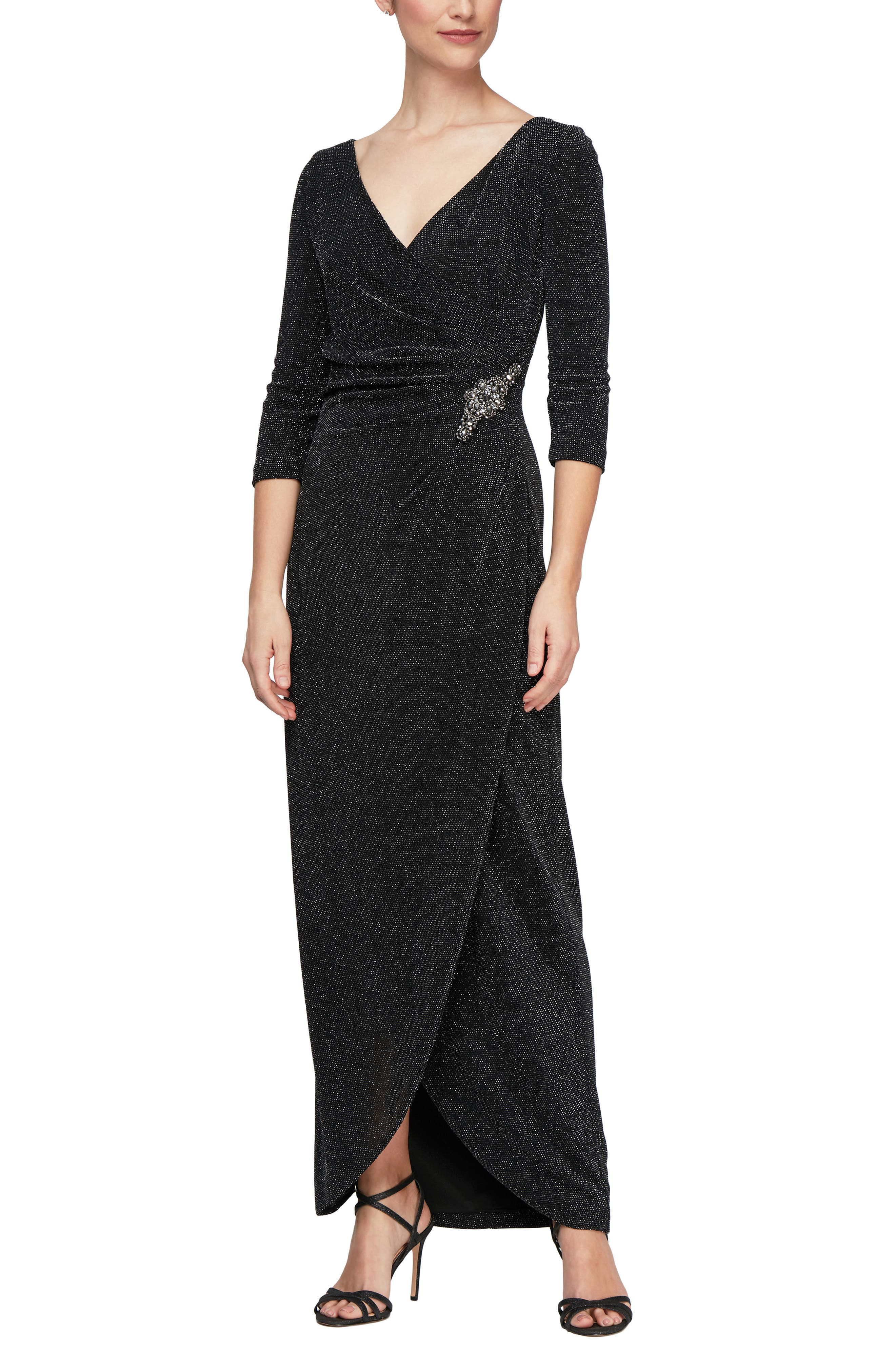 Surplice Metallic Knit Dress