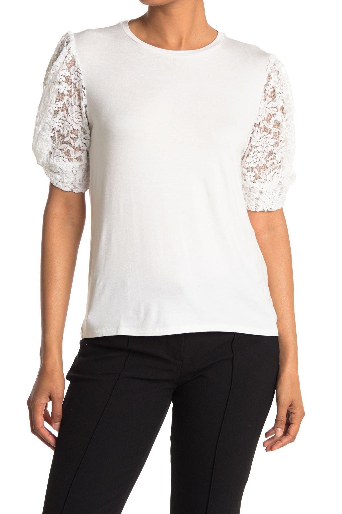 Image of Gibsonlook Lace Contrast Puff Sleeve Top