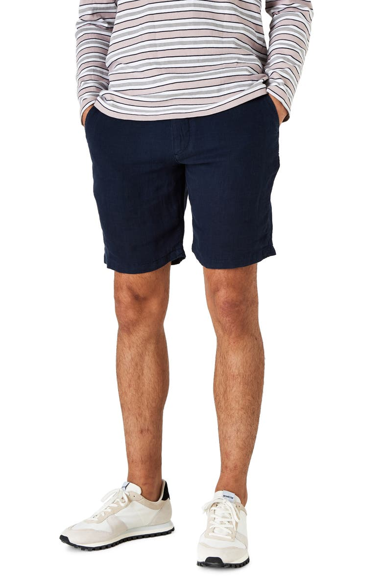 WAX LONDON Holm Linen Chino Shorts, Main, color, NAVY