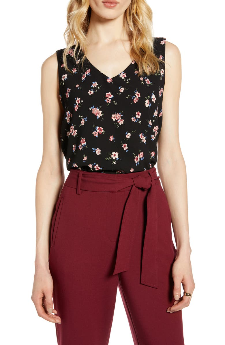 HALOGEN<SUP>®</SUP> Pattern Sleeveless Top, Main, color, BLACK FLORAL