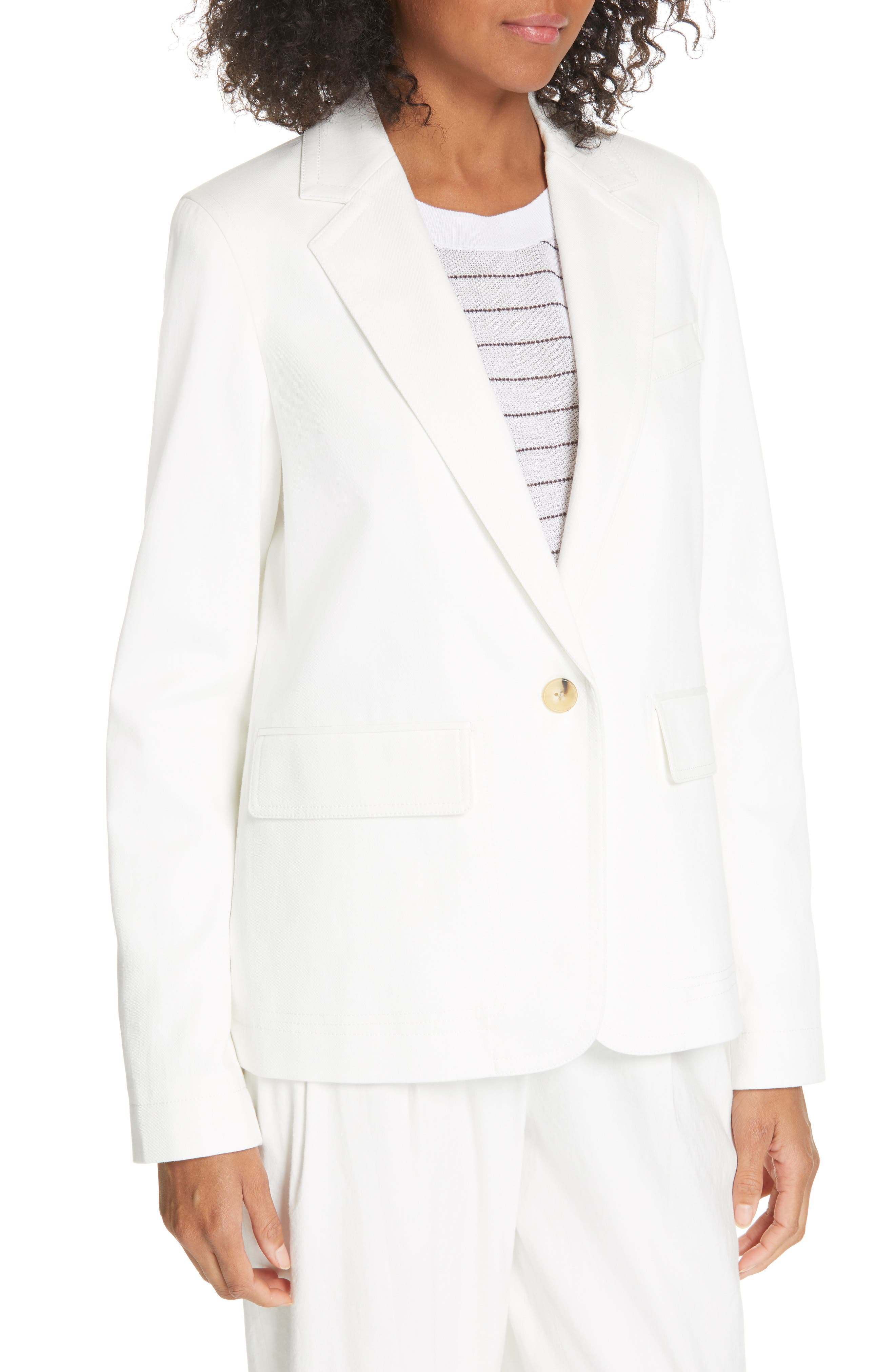 ,                             Cotton & Linen Blend Jacket,                             Alternate thumbnail 5, color,                             OFF WHITE
