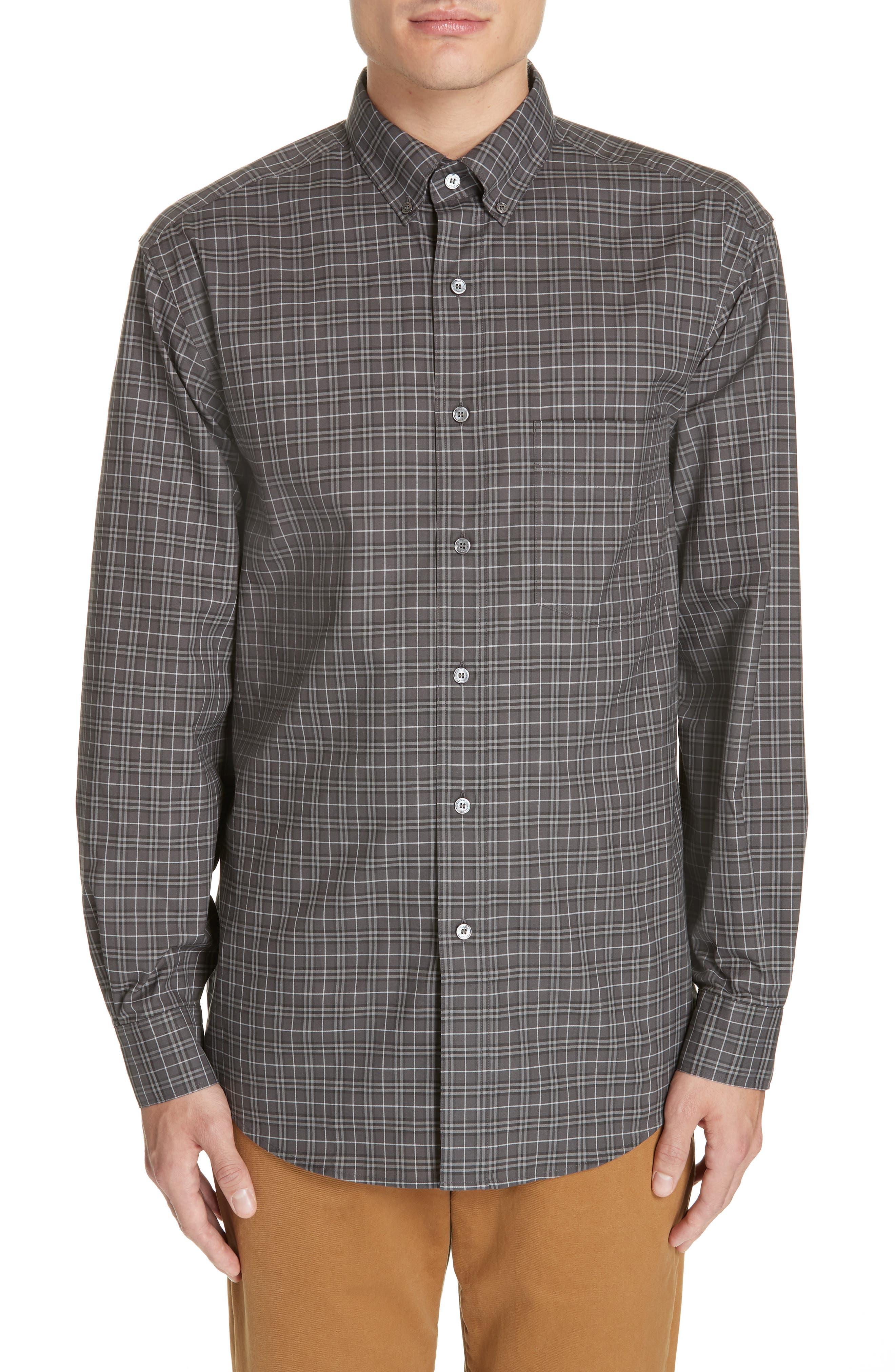 Jameson Slim Fit Check Sport Shirt, Main, color, DARK GREY IP CHECK