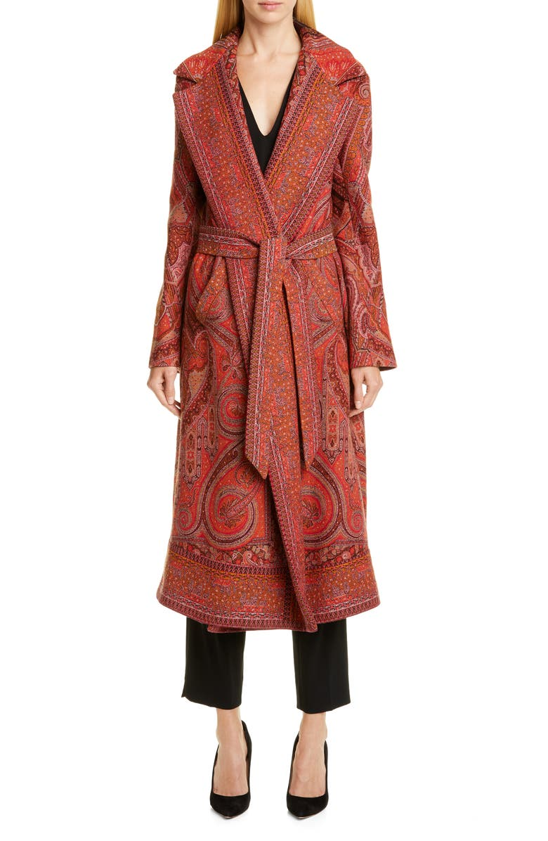 ETRO Belted Paisley Jacquard Wrap Coat, Main, color, RED