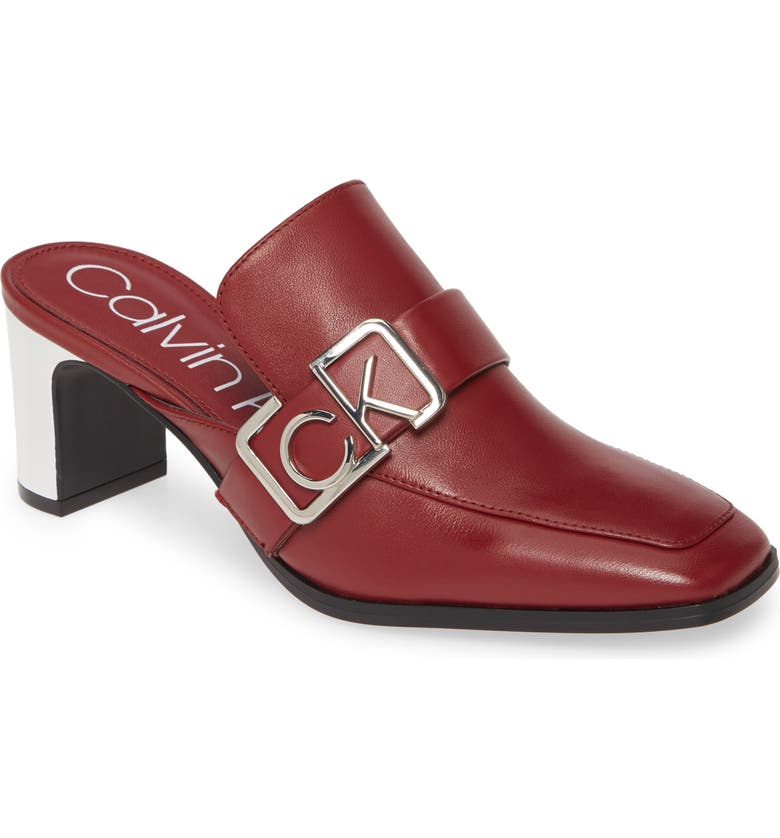 CALVIN KLEIN Dacy Logo Buckle Loafer Mule, Main, color, BARN RED LEATHER