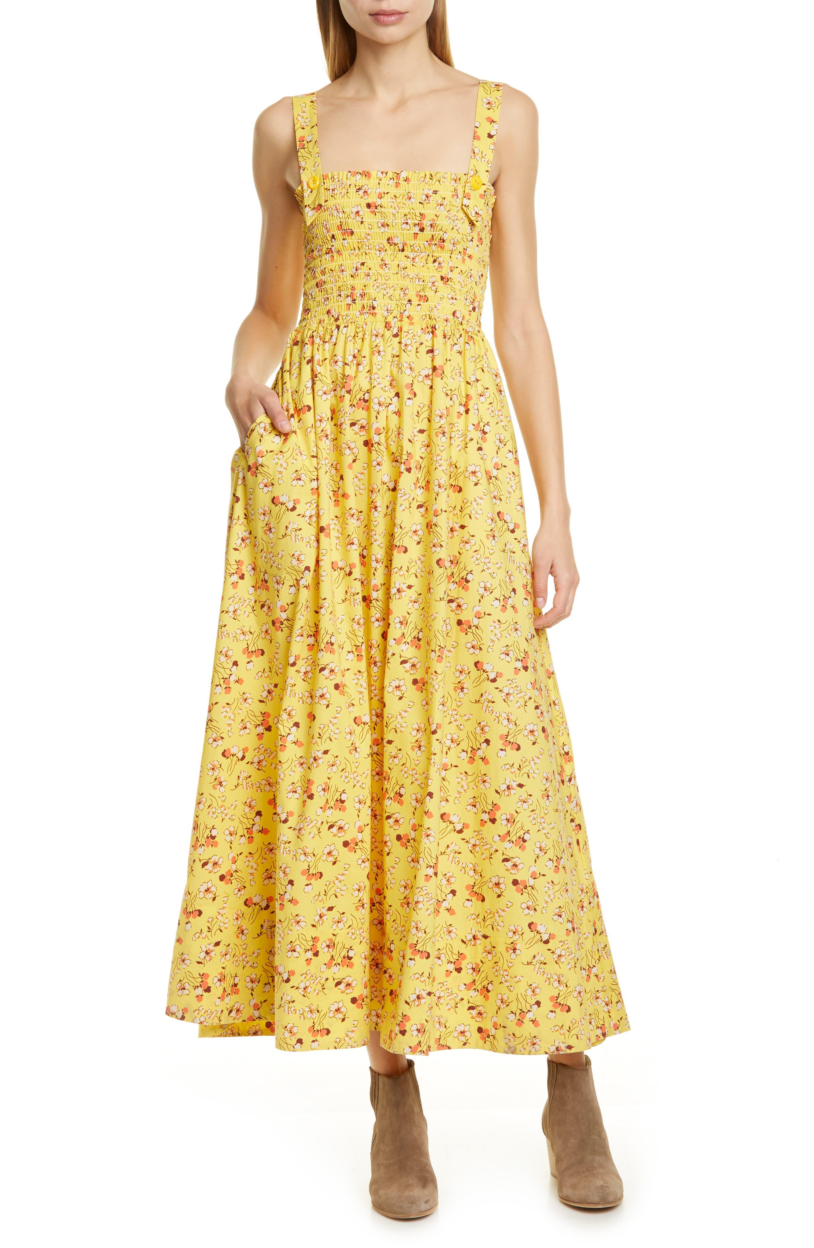 Polo Ralph Lauren Floral Smocked Detail Maxi Cotton Sundress, Yellow