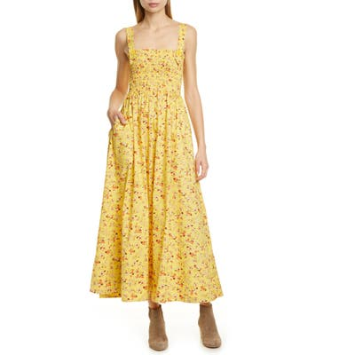 Polo Ralph Lauren Floral Smocked Detail Maxi Cotton Sundress, Yellow