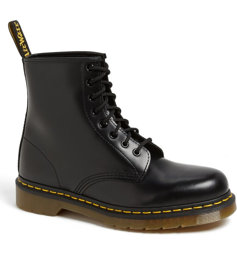 DR. MARTENS '1460' Boot, Main, color, BLACK SMOOTH