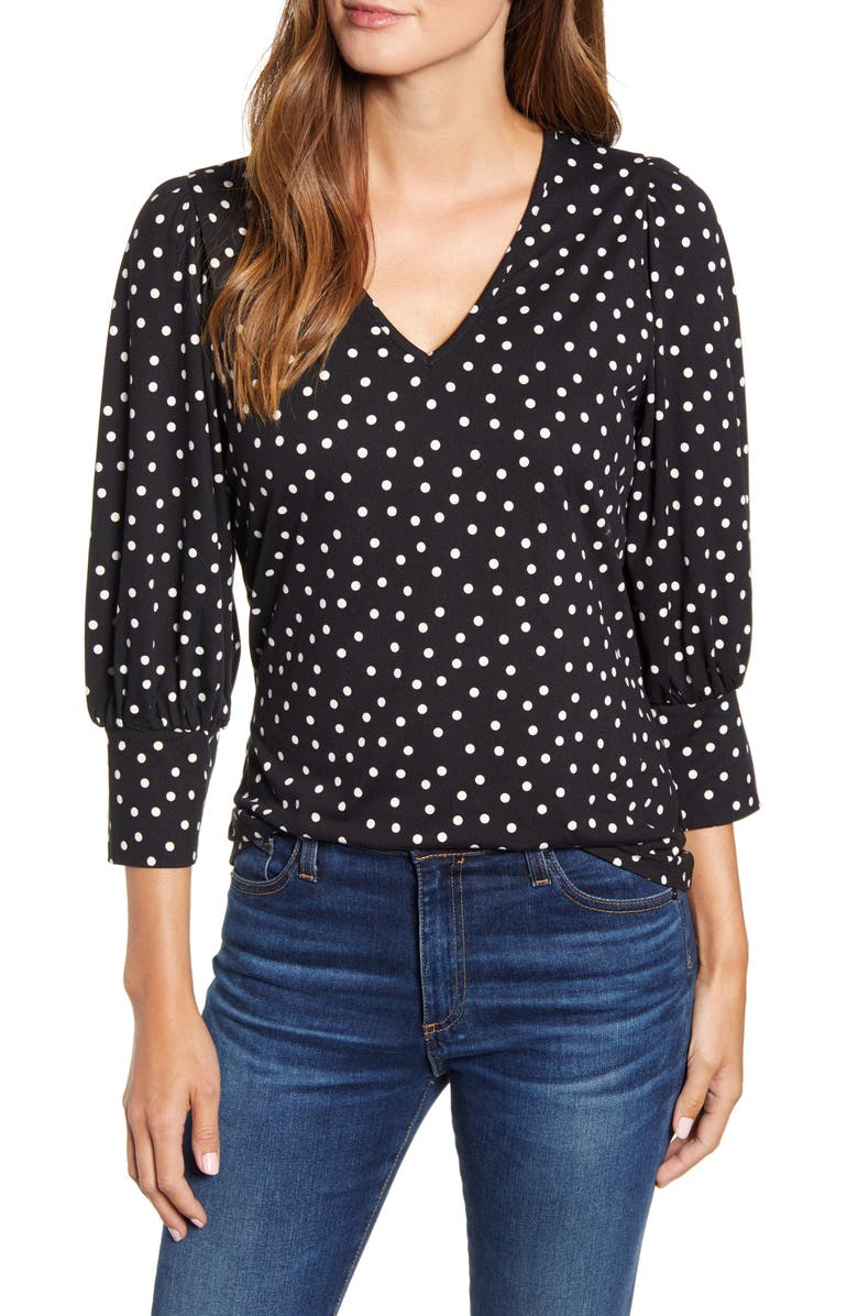 BOBEAU Printed Blouson Sleeve Butter Top, Main, color, BLACK IVORY DOT