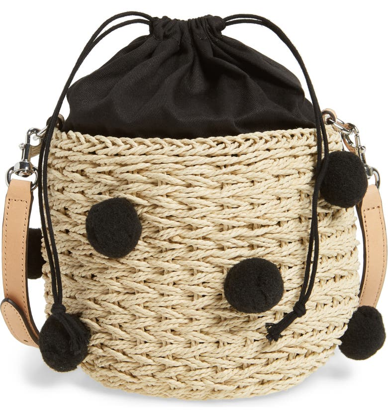 REBECCA MINKOFF Straw Pom Pom Bucket Bag, Main, color, 255